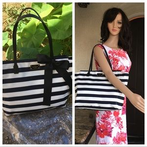 NWOT Kate Spade ♠️ large blue/ white stripes bag.